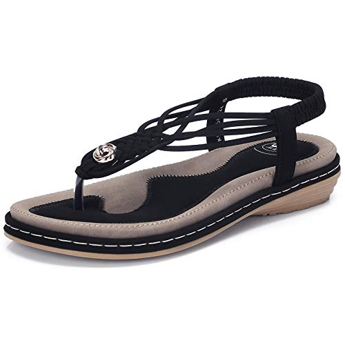 Strappy Slingback Sandals - CAMEL CROWN Women's Comfortable T Straps Thong Sandals Strappy Flat Sandals Summer Slingback Sandals Casual Slip on Flip Flops Bohemian Soft Sandals Black