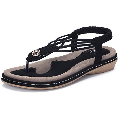 (CAMEL CROWN Women's Comfortable T Straps Thong Sandals Strappy Flat Sandals Summer Slingback Sandals Casual Slip on Flip Flops Bohemian Soft Sandals Black)