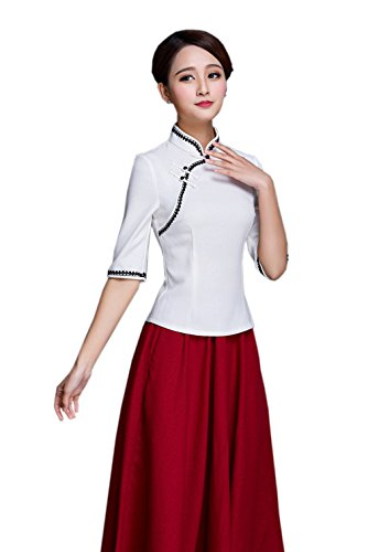 Retro camisa chaqueta Tang mujer blusa media manga elegante Acvip B v0wqtYpf