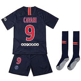 Brosin T-Shirt Football Maillot Paris Saint Germain PSG N ° 9 Cavani # 10 Neymar Jr # 7 MBAPPE Combinaison Vêtement De Sport pour Garçon, Convient Et Aux Enfants T-Shirt Short Chaussette