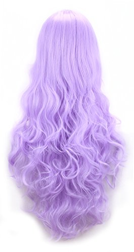 EllenaWomens/Ladies 80cm Light Purple Color Long Curly Cosplay/Costume/Anime/Party/Bangs Full Sexy Wig (80cm Curly,Light Purple)