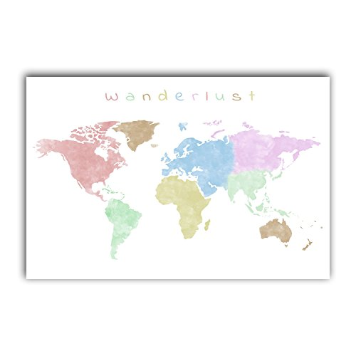 Squareious Watercolor World Map Print, Colorful Earth Poster