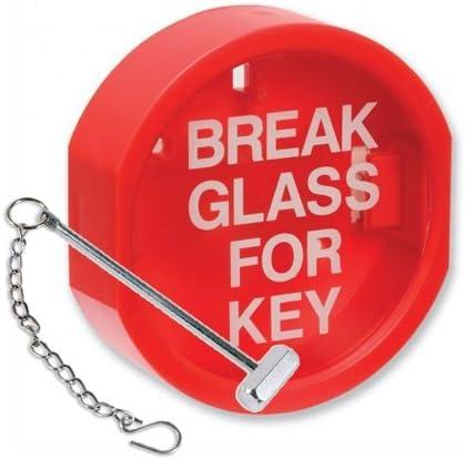 Caja para llaves de cristal Break martillo y forma una cadena con uso en interiores//exteriores con cubierta de pl/ástico caja de claves