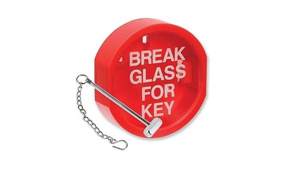 Caja de pl/ástico de seguridad para llave FSSS Ltd cloro rojo dise/ño con texto en ingl/és Break glass for key