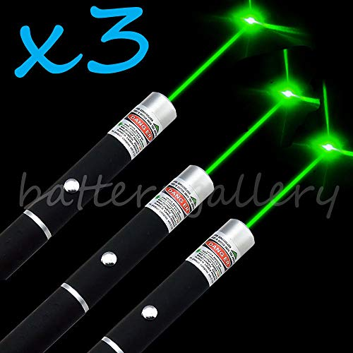 (Green Laser Pointer 3PCS | Hunting Rifle Scope Sight Laser Pen, Remote Laser Pointer Travel Outdoor Flashlight, LED Interactive Baton Funny Laser Pointer Toys for Cats/Dogs)