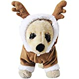 OSPet Pet Costume Elk Christmas Puppy Santa Play Suit for Dog Christmas Costumes S
