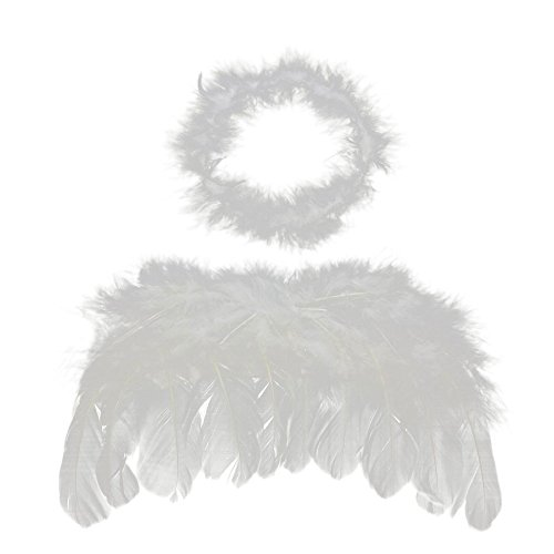 0-6 mo Angel Feather Wings Baby Cupid Props Free Halo - 3