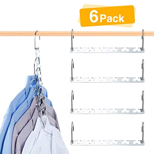 HOUSE DAY 6 Pack Metal Magic Hangers Space Saving Hangers Closet Space Saving Wardrobe Clothing Hanger Oragnizer, Updated Hook Design