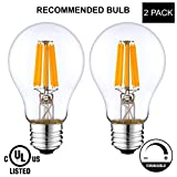 LightAccents Indoor/Outdoor Dimmable LED Filament Light Bulb A19, 8W (60W Equivalent), 800 lumens, 2700K (Warm White), Omnidirectional, Medium Base (E26) UL-Listed - (Pack of 2)