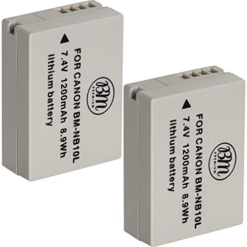 BM Premium (2 Pack) NB-10L Battery for Canon PowerShot G1 X, G3-X, G15, G16, SX40 HS, SX50 HS, SX60 HS Digital Camera (Cannon G16 Camera Case)