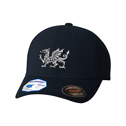Blue Embroidered Dragon (White Welsh Dragon Flexfit Pro-Formance Embroidered Cap Hat Dark Navy Small/Medium)