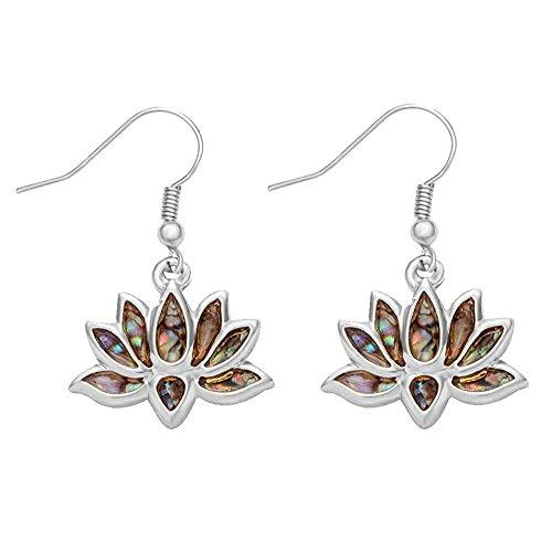 MANZHEN Lotus Flower Blossom Earrings Nature Abalone Paua Shell Dangle Earrings (silver)