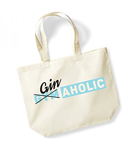 GinAholic - Large Canvas Fun Slogan Tote Bag Natural/Blue