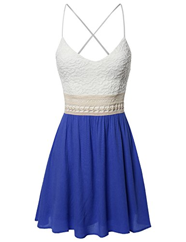 Spaghetti Strap Lace Detail Baby Doll Dress - Made In USA Royal S (Blue Juniors Dress)