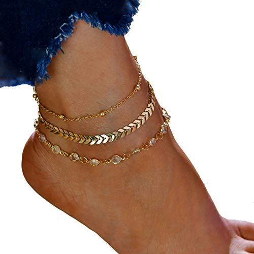 Anklets for Women Summer Beach Faux Opal Foot Chains Handmade Fashion Ankle Jewelry Layered Anklet Gold Silver Plated ()
