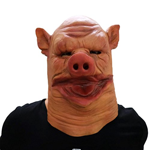 CX shouzuo Scary Chaw Pig Mask Halloween Animal Costume Prop Full Head Latex (Handmade Pig Mask)