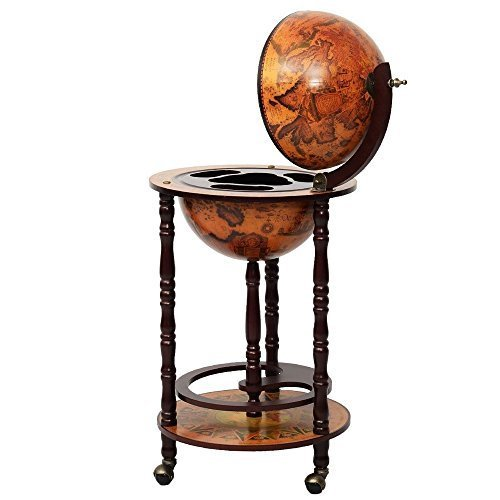 TOMTOP 17 Wood Globe Wine Bar Stand 16th Century Italian Rack Liquor Bottle Shelf by TOMTOP