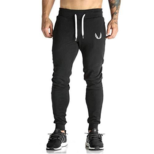 (R-Hansets Men Casual Elastic Cotton Fitness Workout Pants Skinny Sweatpants Trousers Jogger Pants Black M )