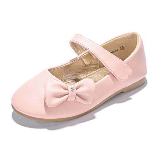 PANDANINJIA Toddler/Little Kids Camila Wedding Party Pink Ballet Flower Mary Jane Girls Flats Dress Shoes -