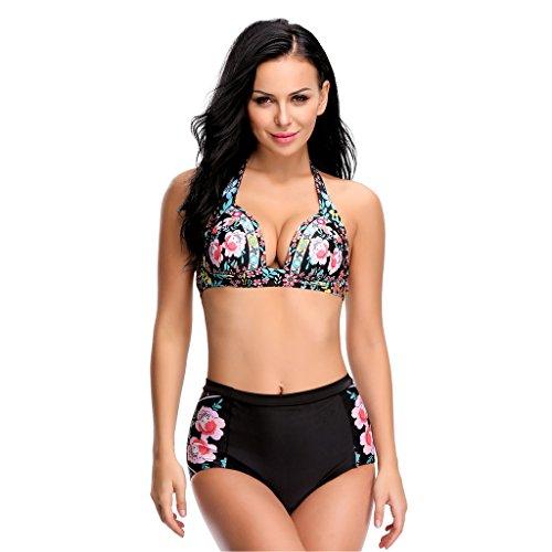 LANFEI Women's Halter Swimsuit Bikini Floral Print Bathing Suits