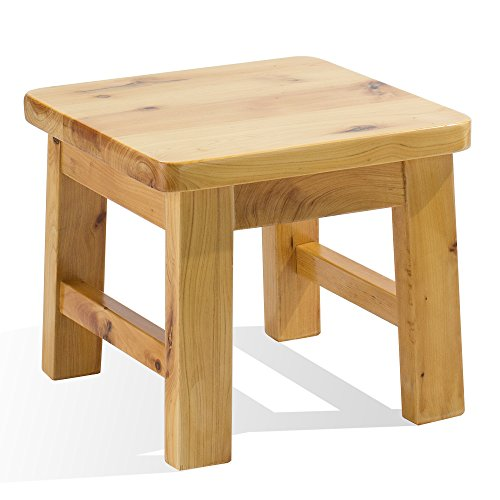 (Frisby Hardwood Birch Footstool Water Resistant Multipurpose Durable Sturdy Non-Slip Surface Wooden Square Step Stool for Indoor Kitchen Bathroom Outdoor Patio Garage)