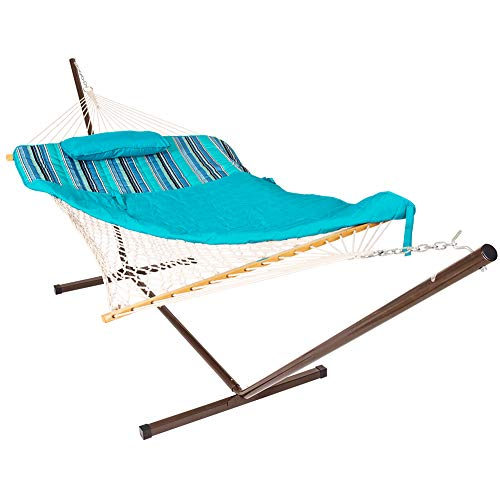 Lazy Daze Hammocks 12 Feet Steel Hammock Stand with Cotton Rope Hammock Combo, Quilted Polyester Hammock Pad and Pillow, Blue Ocean Stripe (Hammock Fabric Quilted Large)