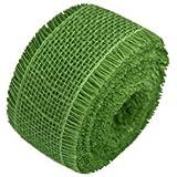 JUTE BURLAP RIBBON - GREEN 2.5 INCH X 10 YARDS