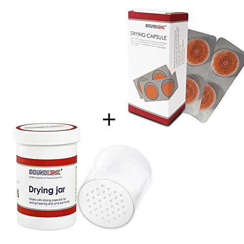 Hearing Aids Drying Kit Drying Jar Drying Dehumidifier Dryer (Two Cards Drying Capsules and One Drying Jar) (60 * 85mm) (Hearing Aid Drying Case)