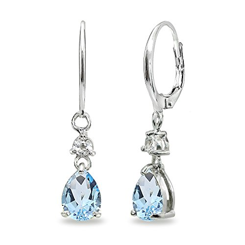 - Sterling Silver Blue & White Topaz 8x6mm Teardrop Dangle Leverback Earrings