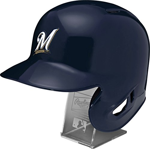 Rawlings MLB Milwaukee Brewers Replica Batting Helmet Engraved Stand, Official Size, Blue ()