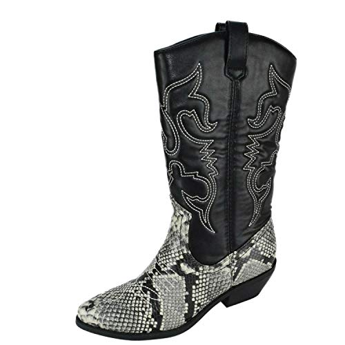 SODA Womens Reno Calf High Cowboy Cowgirl Boots - Pointed Toe Block Heel Western Embroidered (Gray Python, -