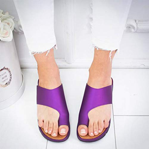 2019 New JJLIKER Womens Summer Flat Sandals Clip Toe Flip Flops Thong Wedge Bottom Beach Slippers Outdoor Non-Slip Shoes