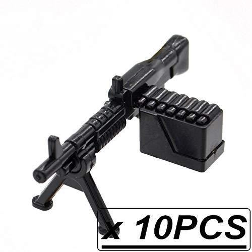 (BeesClover 10pcs/lot WW2 M249 Saw Machine Guns Squad Automatic Weapons M60 MOC Military Blocks Part Building Toy for Children 10pcs M60)