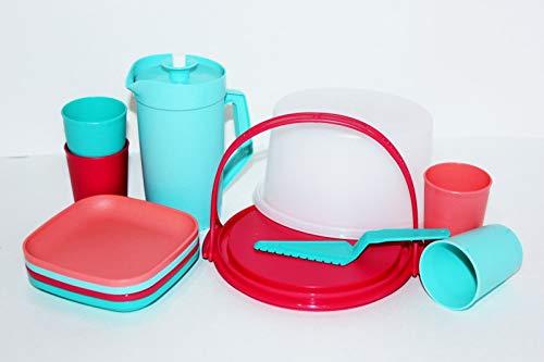 Tupperware... 11pc Mini Party Set Cake Taker /Tumblers/Plates/Pitcher Aqua, Orange, Red/Pink]()