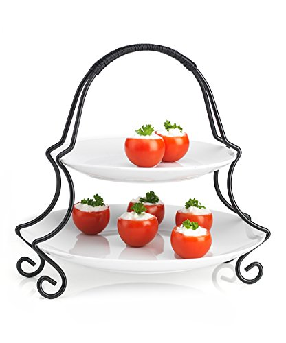 2 Tier Round Serving Platter- Tiered Cake Tray Stand- Food Server Display Plate, White Ceramic Plates With Metal Rack For Finger Food, Appetizers, Treats, Elegant Cake Display Ideal For Every Party