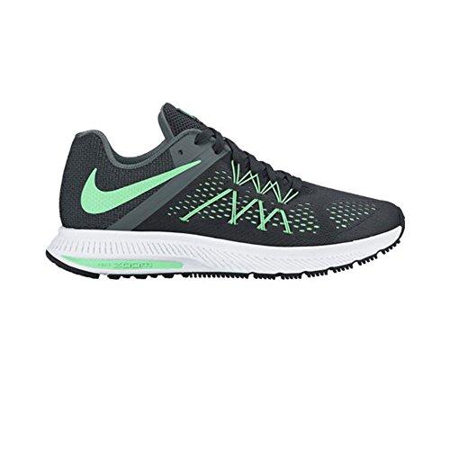 Nike Dames Zoom Winflo 3 Sportschoen Zwart / Groen Glow / Hasta / Wit