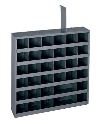 Durham 314-95 Gray Cold Rolled Steel 36 Opening Adjustable Parts Bin, 23-3/4 Width x 4-3/4 Depth x 23-3/4 Height