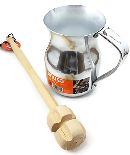 Imusa Aluminum Hot Chocolate Pitcher (Chocolatera) 1Qt. Bundled with a Wooden Chocolate Mixer - Molinillo 14