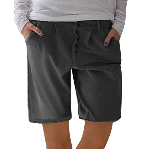 ♞Deadness-Womens Women's Jersey Short Workout Lounge Casual Solid Chino Shorts with Pockets Black