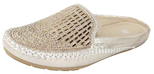Cambridge Select Women's Closed Toe Glitter Crystal Rhinestone Slip-on Mule,7 B(M) US,Gold