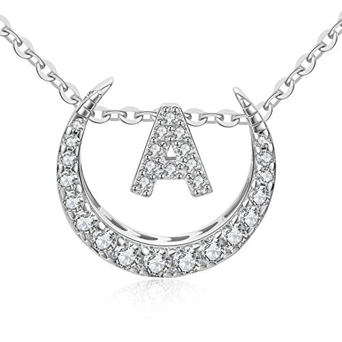 OAKING Necklace for Women, S925 Sterling Silver Cubic Zirconia 26 Initial Letters Sterling Silver Pendant Necklace Gift Set (A)
