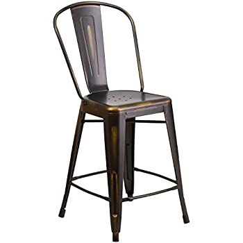 Flash Furniture 24u0027u0027 High Distressed Copper Metal Indoor-Outdoor Counter Height Stool with  sc 1 st  Amazon.com & Amazon.com: DHP Luxor Metal Counter Stool with Wood Seat and ... islam-shia.org