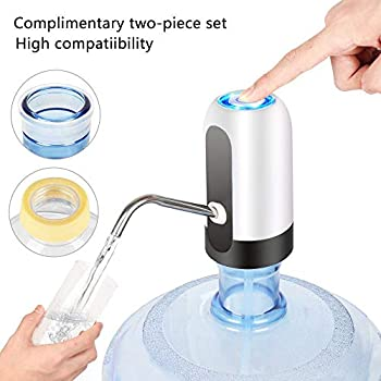 Water Dispenser 5 gallon, for 48mm Screw or 55mm Crown Tops Water Bottle Pump. for Home, Office, Touring Car,The Game on Hot Days, Travel Vacation and Outdoor Camping or to a Festival.White