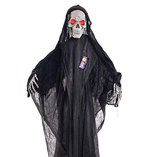 Halloween Grim Face (Halloween Haunters Standing Life Size 6 Foot Skeleton Grim Reaper of Death Prop Decoration with Evil Red Flashing Eyes - Skeleton Face Cloaked in Black - Haunted House Graveyard Entryway)