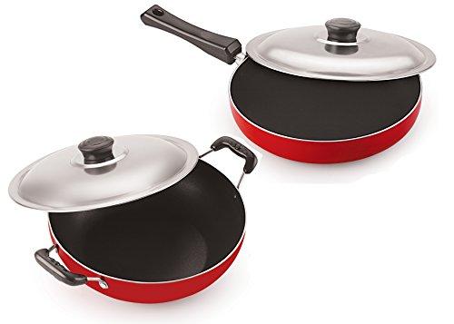 NIRLON Aluminum Pot  amp; Pan Sets _Red  amp; Black