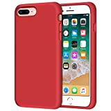 iPhone 8 Plus Case, iPhone 7 Plus Case, Anuck Soft Silicone Gel Rubber Bumper Case Microfiber Lining Hard Shell Shockproof Full-Body Protective Case Cover for iPhone 7 Plus /8 Plus 5.5' - Red