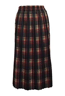 SEOULSTORY7 Women's Winter Long Plaid Flared Skirt W Elastic Waist Band