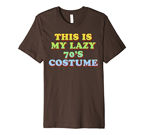 Mens This Is My Lazy 70's Costume T-Shirt Easy Halloween Tee Large Brown (70 Costume Ideas)
