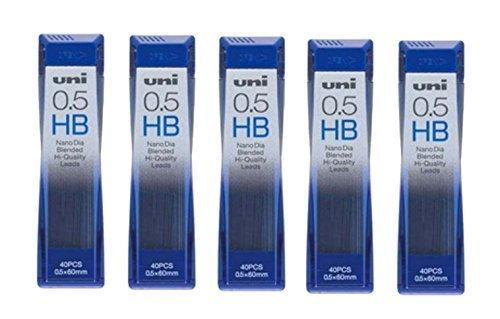 uni JETSTREAM 0.5mm Nano Dia HB Mechanical Pencil Lead - 5 Pack of 40 Pieces (200 Pieces Total)