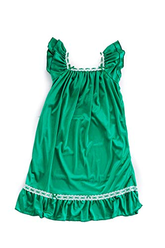 Girls Vintage Nightgown (Green (Double Layer), XXL (9-10 Years))